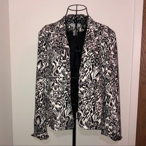 Sag Harbor black and white printed blazer